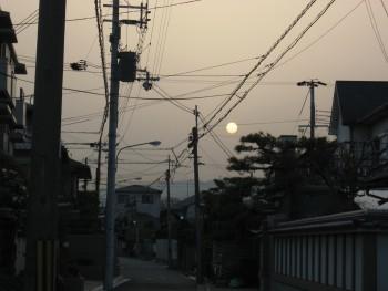 黄砂な日没