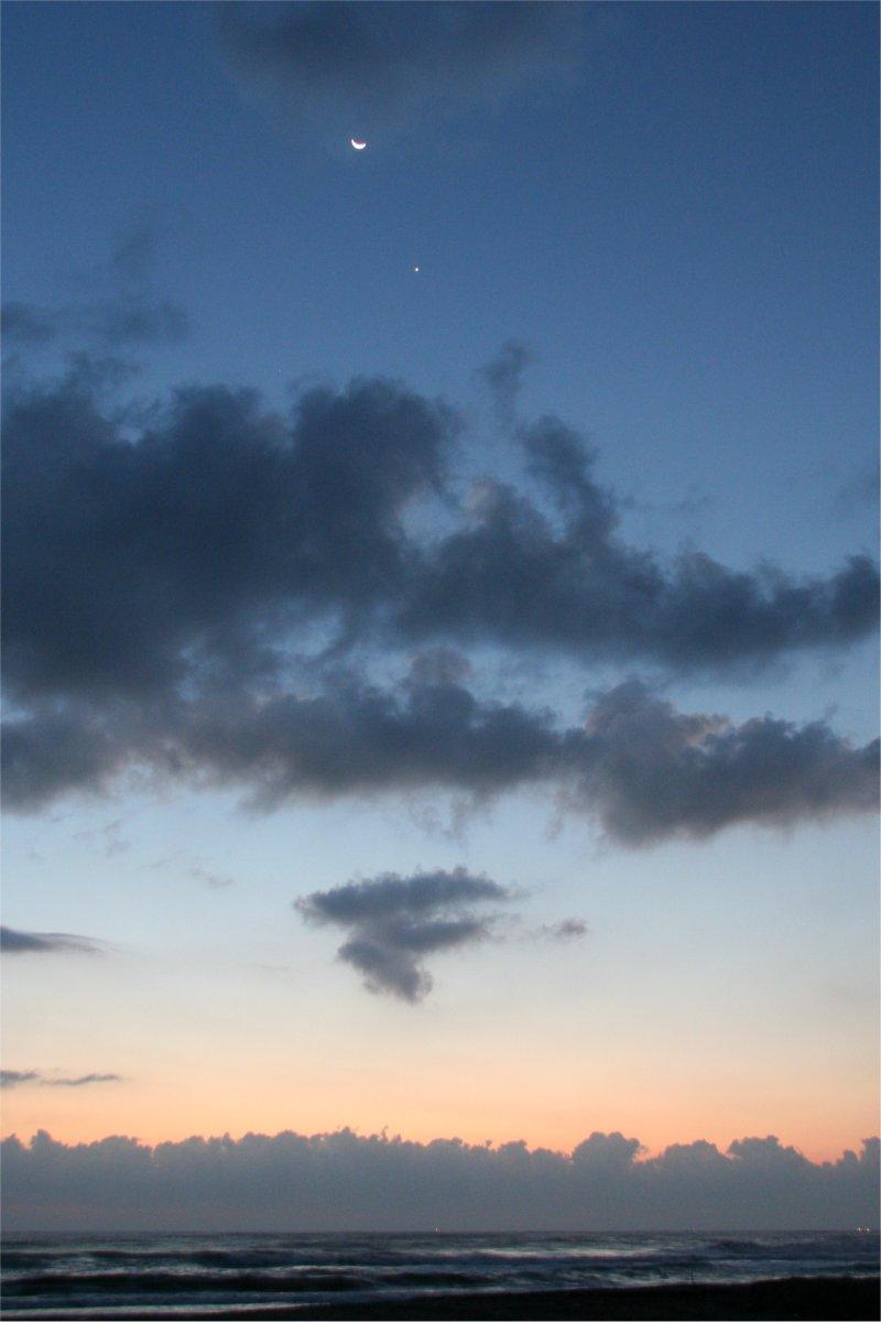 東浪見で撮った月,金星,土星,レグルス