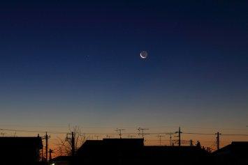 西方最大離角の水星と月